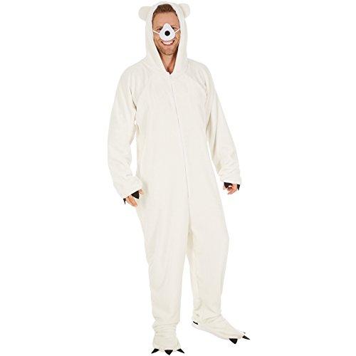 TecTake dressforfun Kostüm Eisbär für Sie und Ihn | Aus flauschigem Plüschstoff | Vorne mit praktischem Reißverschluss | inkl. Nase mit Gummiband (XL | Nr. 300874)