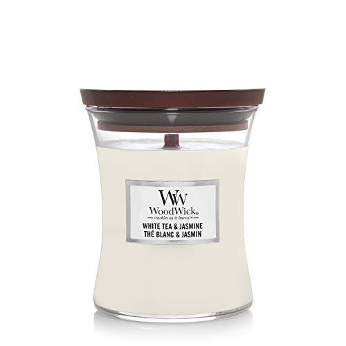 WoodWick mittelgroße Duftkerze im Sanduhrglas mit knisterndem Docht, White Tea und Jasmine, bis zu 60 St&en Brenndauer