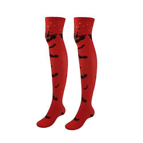 Faletony Damen Strumpfhose, hohe Strumpfhose, Knie, Oberschenkel, lang, für Halloween, Maskerade, Cosplay, Abend, Verkleidung Gr. One Size, Chauves-souris-rouge