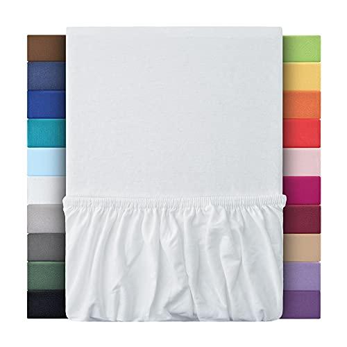 leevitex® Kinder Jersey Spannbettlaken, Spannbetttuch 100% Baumwolle in vielen Größen und Farben MARKENQUALITÄT ÖKOTEX Standard 100 | 70x140 cm - Weiß