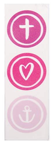 Rayher 31615264 Wachsmotiv Glaube Liebe Hoffnung, pink, 9,5 x 3 cm, 1 Stück, zum Gestalten von Kerzen (Firmung, Konfirmation, Taufe, Hochzeit etc.)
