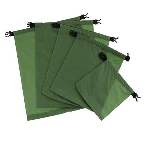 IPOTCH Dry Bag Impermeabile Sacco con 5 Misure per Spiaggia, Escursioni, Kayak, Pesca Sacca - Militare Verde