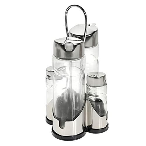 Hersisg - Set de aceitera, vinagrera, salero y pimentero de cristal y acero con boquilla antigoteo, diseño clásico, recipientes rellenables, 4 piezas