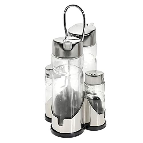 Hersisg - Set de aceitera, vinagrera, salero y pimentero de cristal y acero con boquilla antigoteo, diseño clásico,...