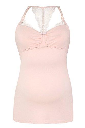 Cache Coeur Damen Umstandsschlafanzugoberteil SERENITY, Pink (Petal Pl), X-Large