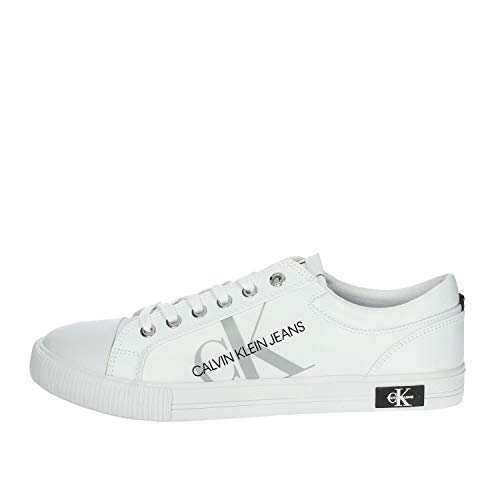 Calvin Klein Jeans Sneakers Vulcanized a Collo Basso (Bianco, Numeric_43)