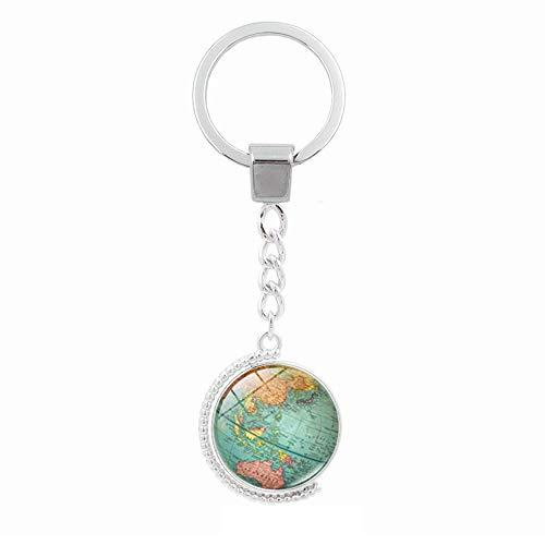 IKAAR Portachiavi Terra Doppio Lati Girevole Globe Mappa del Mondo Portachiavi
