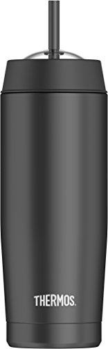 THERMOS 4029.233.047 Isolier-Trinkbecher Cold Cup, Edelstahl Schwarz 0,47 l, inkl. Trinkhalm, perfekt für Smoothies oder Eiskaffee, BPA-Free
