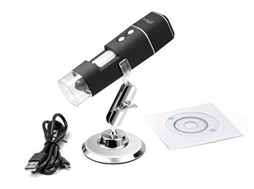 Technaxx WiFi FullHD Mikroskop TX-158-1000-fache Vergrößerung, WLAN, FullHD, Foto, Video, Zoom, beobachten der Natur, Sterne, Garten, mit Stativ für klare Aufnahmen, LED, kabellos
