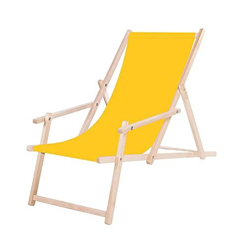 SPRINGOS Holz-Liegestuhl Sonnenliege Gartenliege mit Armlehnen Klappstuhl Freizeitliege (Gelb)