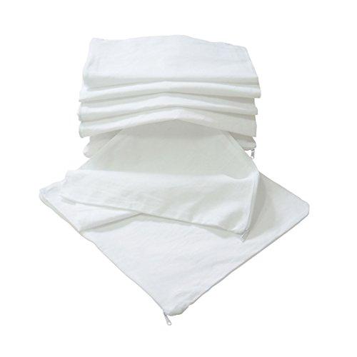Nurtextil24 Kissen-Inlett 2er 4er 6er 8er 10er Sparpack ohne Füllung 100% Baumwolle 20 Größen in Weiß mit Reißverschluss 2er Pack 40 x 40 cm