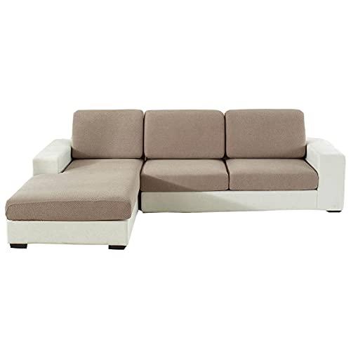 Jacquard-Sitzkissenbezug, Stretch L-Form Couch-Sitzbezug mit elastischem Boden Möbelschutz Anti-Kratz-waschbar einfarbiger Kissenbezug für Stuhl-Sofa Loveseat-Sofa-1 Sitzer-Kamel
