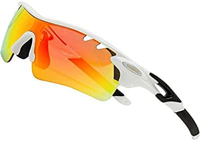 ITSCOOL Polarized Sports Sunglasses with Interchangeable Lenses for Men Women Golf Running Baseball Cycling Glasses White