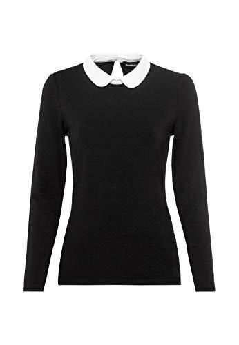 HALLHUBER Basic-Langarmshirt mit Bubikragen aus Lenzing™-EcoVero™ leicht tailliert schwarz, M