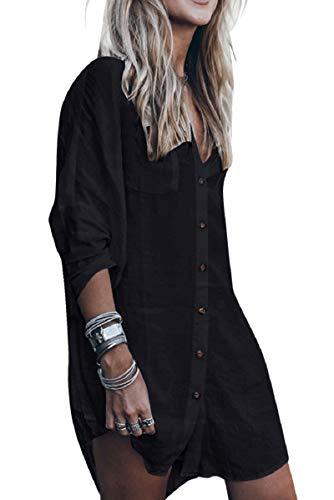 UMIPUBO Blusas y Camisa Mujer Manga Larga Cuello en V Túnica Casual Tops Sueltos Primavera Otoño Invierno Blusa Superior Irregular de Gran tamaño con Bolsillo con botón (Negro, Talla única)
