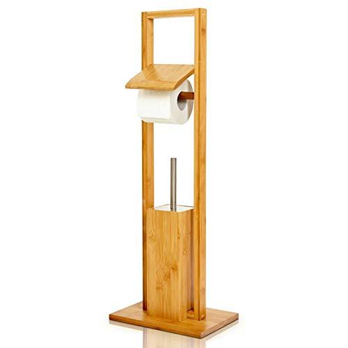 bambuswald© WC Garnitur aus 100% Bambus ca. 82 x 36 x 21 cm - freihstehende Standgarnitur mit Toilettenbürste und Klorollenhalter, Toilettenpapierhalter   ökologisch & nachhaltig