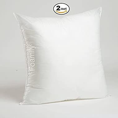 Set of 2-24 x 24 Premium Hypoallergenic Stuffer Pillow Insert Sham Square Form Polyester, Standard/White - MADE IN USA