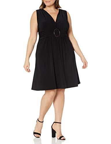 Star Vixen Women's Plus-Size Sleeveless O-Ring A-Line Dress, Black Solid, 1X