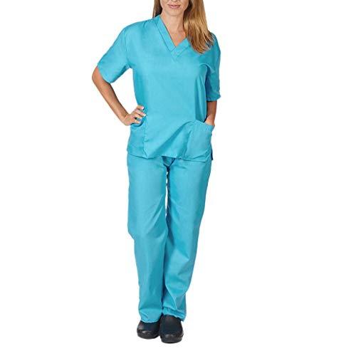 Zilosconcy Arbeitskleidung Kurzarm T-Shirts V-Ausschnitt + Hosen Pflege Set Medizin Arzt Berufsbekleidung Krankenschwester Kleidung Damen Uniformen Oberteil mit Tasche Unisex HimmelblauXL