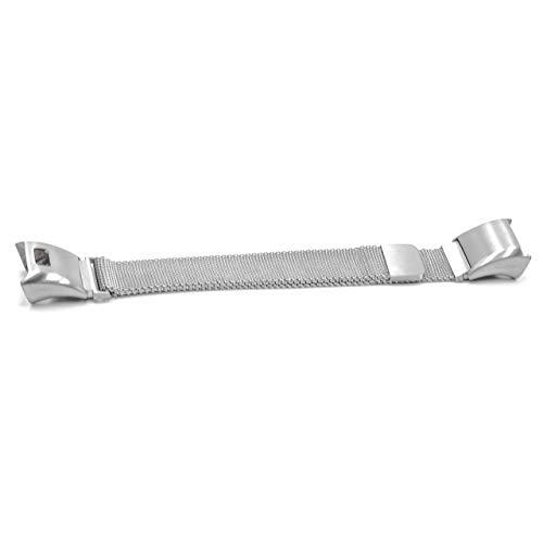 vhbw Ersatz Armband kompatibel mit Garmin Vivosmart HR Fitnessuhr, Smartwatch - Edelstahl Silber Magnetverschluss