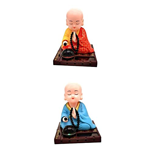 FLAMEER Pack of 2 Cute Solar Dancer Toy Figure Buddha Monk Swing Toy Decoration