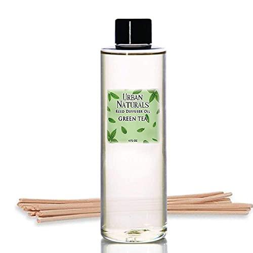 Urban Naturals Green Tea Scented Oil Reed Diffuser Refill | Green Tea Leaves, Italian Bergamot, Star Jasmine & Sandalwood | Includes a Free Set of Reed Sticks! 4 oz.