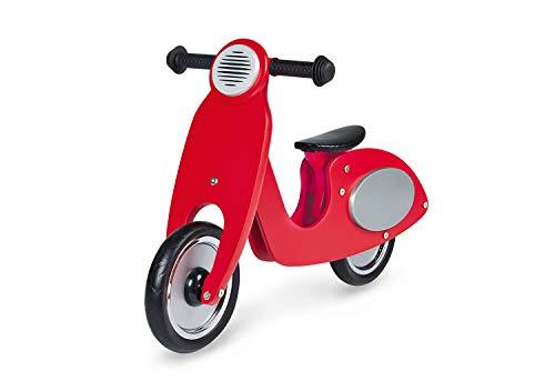 Pinolino Laufrad Vespa Wanda, Laufrad Holz, unplattbare Bereifung, Sattel 3-fach höhenverstellbar, für Kinder von 3 – 5 Jahren, rot