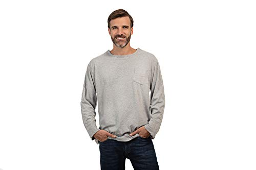 MAI Post Shoulder Surgery Shirts | Chemo Clothing for Port Access | Men Long Sleeve Shirt | Easy Snaps on Shirt Sides and Full Arm Opening | Soft Natural Cotton | Dialysis Clothing Gray