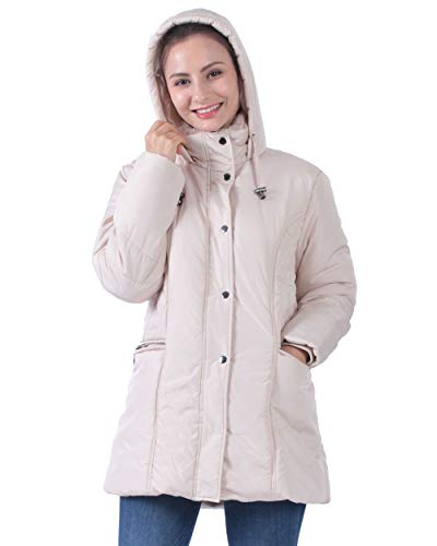Plusfeel Ladies Women Winter Warm Cycling Hooded Ultra Light Weight Long Sleeves Mid Length Jacket Coat with Pocket, Khaki, Small