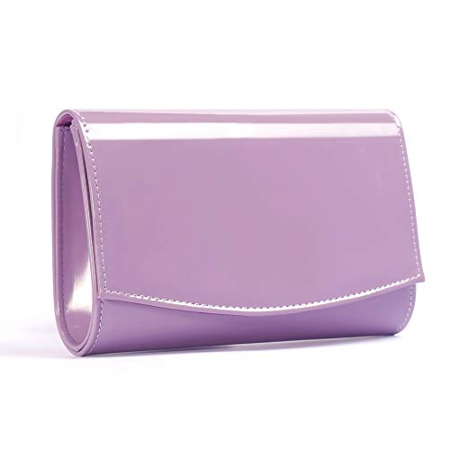 Women Patent Leather Wallets Fashion Clutch Purses,WALLYN'S Evening Bag Handbag Solid Color (Lavender)