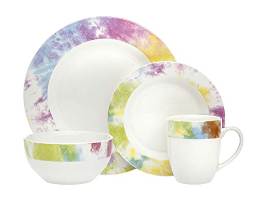 Dinnerware Set Tie Dye Edge Dinner Plate, Salad Plate, Soup Bowl, and Mug- Bone China - 16 Piece set