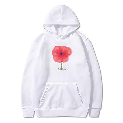 Moletom com capuz de lã Red Flower Corn Art Watercolour pulôver esportivo, Multicor, M