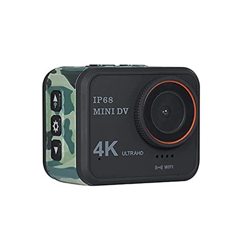 XJPB Cámara de acción Cámara a Prueba de Agua subacuática 4K WiFi 170 ° de Gran Angular con Accesorios remotos Kit de Montaje para PC Webcam Youtube/Vlogging Video,Camuflaje
