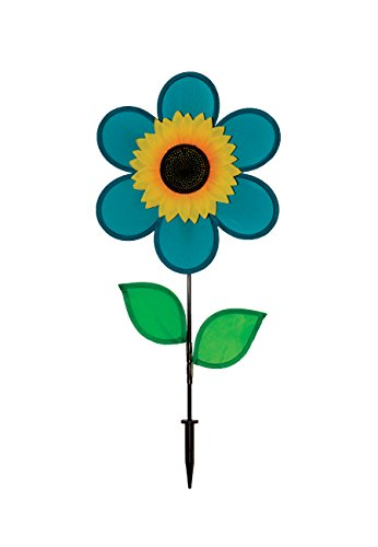 In the Breeze 12 Inch Teal Sunflower Wind Spinner with Leaves - Includes Ground Stake - Colorful Flower for your Yard and Garden