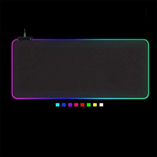 LANGTAO RGB Gaming Mouse Mat, LED Light Gaming Mouse Pad, Mat De Escritorio Juego De PC Mouse Pad, con Bordes Anti De Colores Cosidos con 14 Modos De Retroiluminación,2