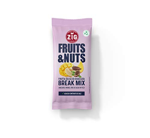 ZIG - Fruits & Nuts - Break mix 300g | Monoporzione di Anacardi, mango essiccato, fave di cacao | (10 bustine da 30g) Pack 100% compostabile