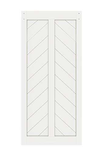 DIYHD 38X84in Fish Bone V Shape Sliding Barn Slab MDF Solid Core Primed Interior Panel(Disassembled), 38X84 in, White Door