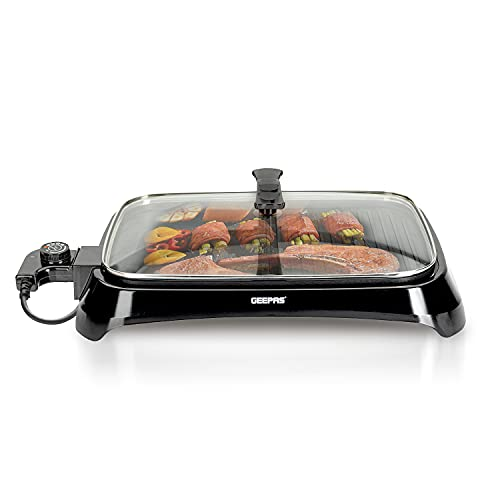 Geepas 1600W Electric Barbecue Grill   2-in-1 Grill with Hot Plate,...