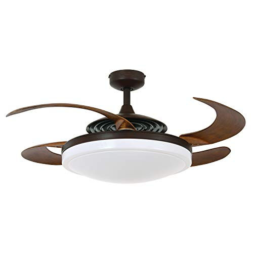 Fanaway 21093301 Evo2 Retractable 4 Lighting with Remote Ceiling Fan, 48 Inch, Oil Rubbed Bronze with Dark Koa Blades