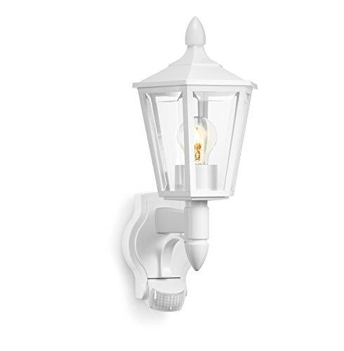 Steinel Außenleuchte L 15 weiß, Wandleuchte mit 180° Bewegungsmelder, max. 10 m Reichweite, klassisches Design