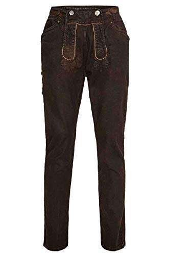 Hangowear Herren Herren Jeans 'Lederhose' lang Dunkelbraun, Dunkelbraun Coated, 48