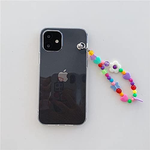 DEIOKL Pulsera de Flores de Colores Funda para teléfono con Cadena para iPhone 12 12Pro 11 11Pro X XR XS MAX 7 8Plus SE Funda Protectora de TPU Transparente Capa Protectora, A, para iPhone XR