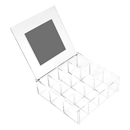 Cabilock 1 Caja Transparente de Almacenamiento de Joyas a Prueba de Polvo, Pendientes de Escritorio, contenedor de Collar, Organizador de Almacenamiento de Joyas de acrílico (12 Rejillas con Espejo)