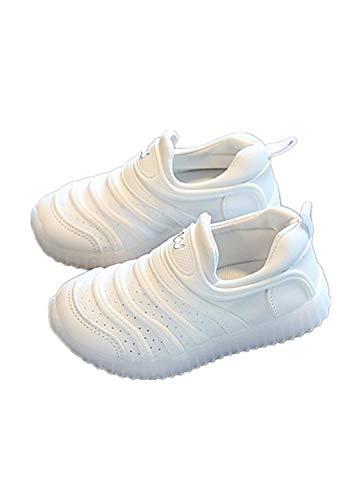 MIJI Babyschuhe – Jungen und Mädchen Sport Led Luminous Casual Schuhe Soft Bottom Outdoor Anti-Rutsch Wanderschuhe Laufschuhe (1-6 Jahre), weiß, 27