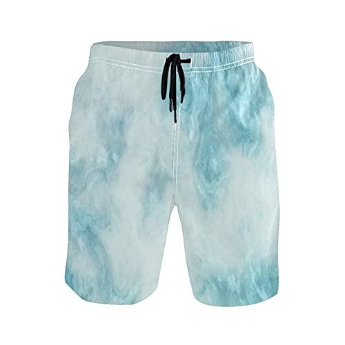 Hongwenjy - Pantaloncini da spiaggia da uomo, in marmo, blu Beautylino, vestibilità casual, taglia XL, Nero , XL