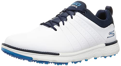 Skechers Zapatillas de golf para hombre Elite-Tour SL de golf impermeables sin puntas de cuero para golf, blanco/azul marino, 41 EU