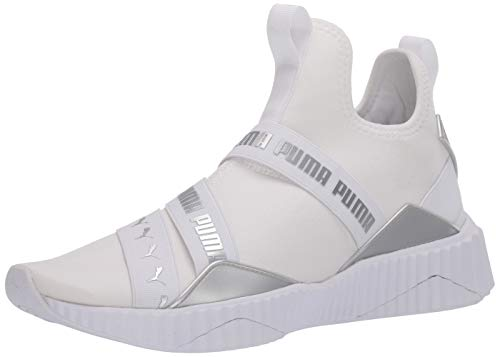 PUMA womens Defy Mid Cross Trainer, Puma White-puma Silver, 8 US