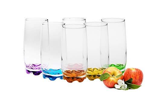 Verres à boire 350ml Set 6 pcs. verres à eau à fond coloré verres à jus verres à long drink verres à petit déjeuner grands