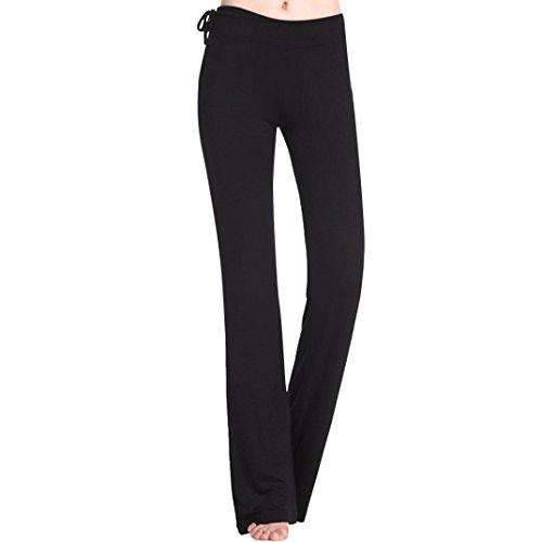 Clearance! Ruhiku GW Women's Yoga Pants Casual Slimming Shaping Bootleg Yoga Leggings Sports Pants (L, Black)