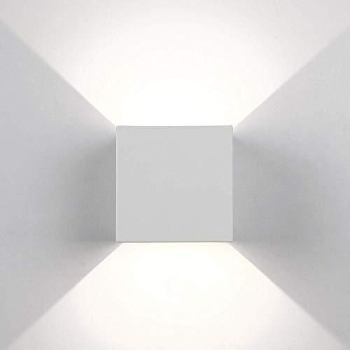 Topmo-plus 12w lampada da parete a LED con angolo regolabile/Applique a LED per esterni/interni Impermeabile/Puri COB/Illuminazione a parete Quadrato 10CM 4000K (Bianco/bianco natural)